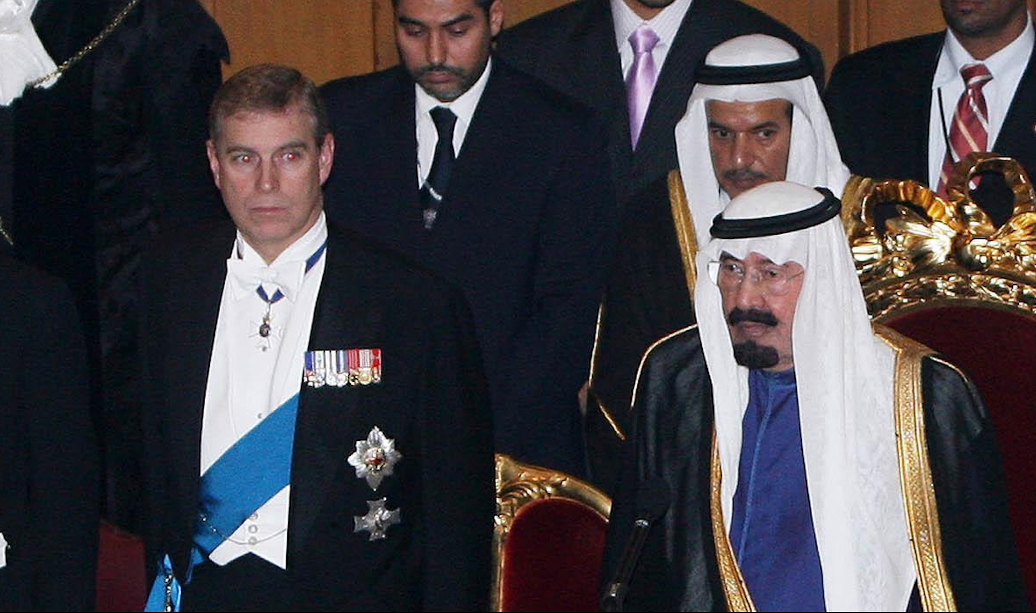 Prince Andrew rushed to Saudi Arabia after King Abdullah (right) lost his brother Nayef. (Photo: Getty)