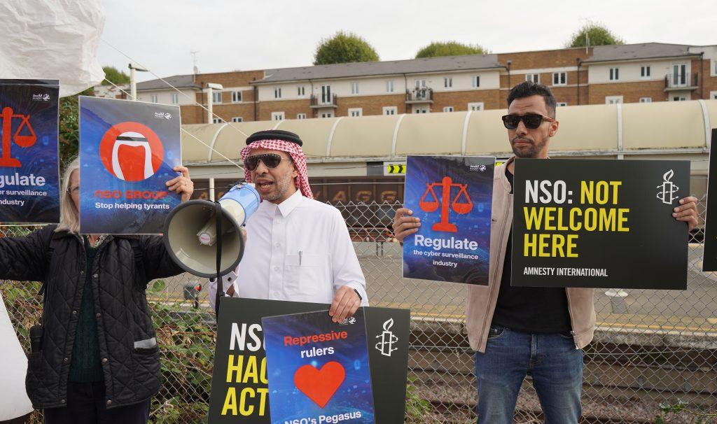 Gulf exiles Yahya Assiri and Nabhan al-Hanashi protest against NSO Group on 28 September 2021 (Photo: Abdullah Aljuraywi / ALQST)