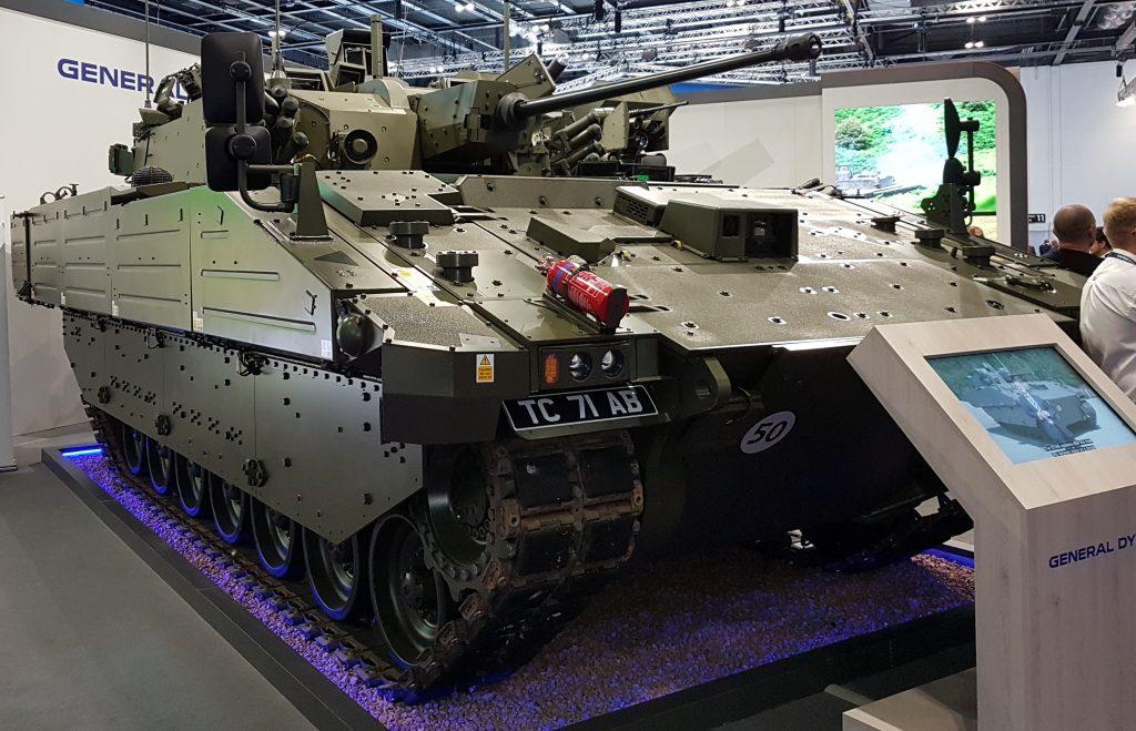 An Ajax vehicle on display at DSEI 2021 (Photo: Phil Miller / Declassified UK)