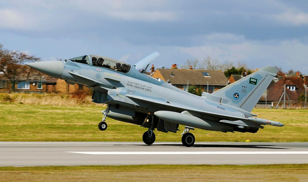 A British-built Eurofighter Typhoon fighter jet, belonging to the Royal Saudi Air Force, takes off. (Photo: Flickr)