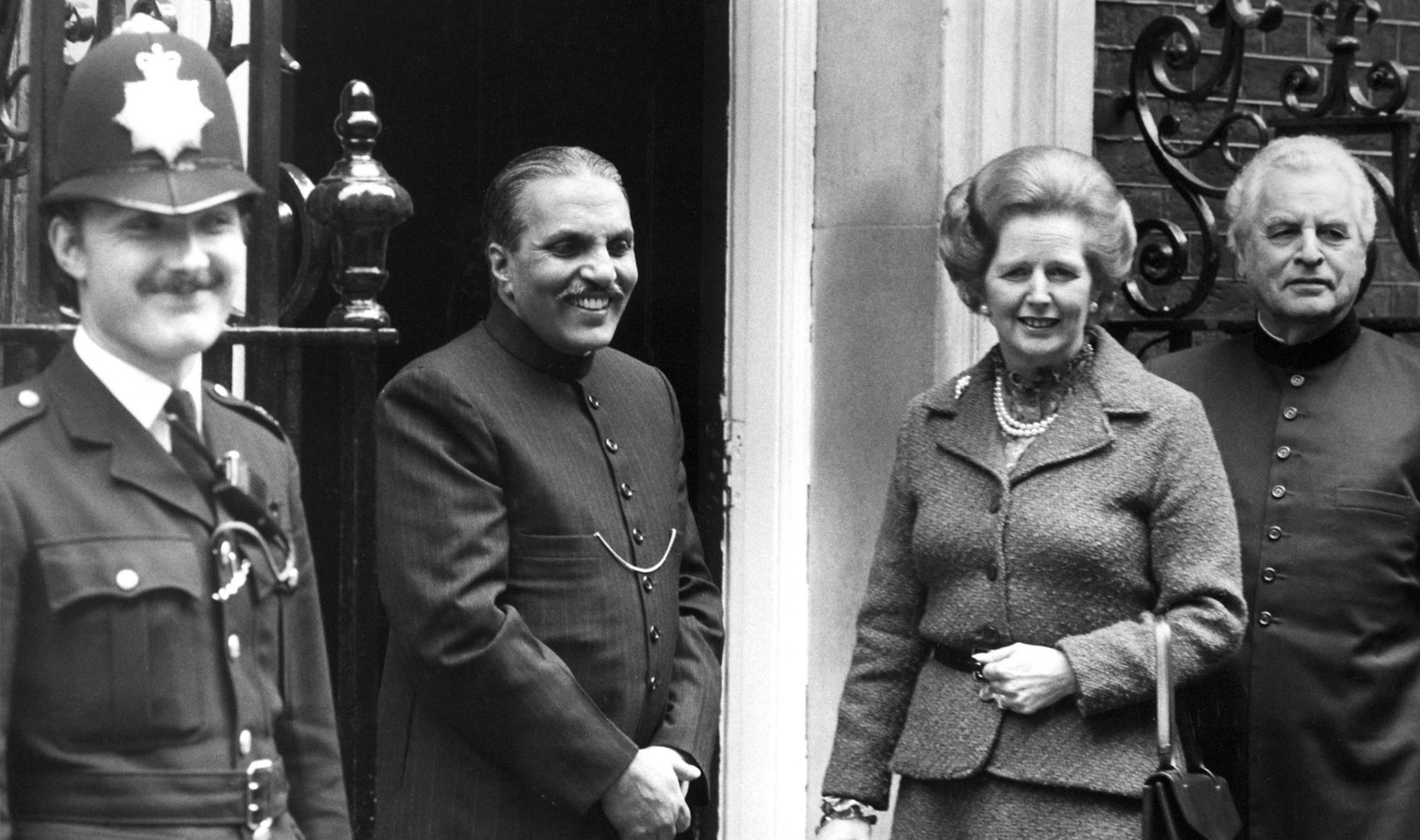 Margaret Thatcher receives Prime Minister of Pakistan Zia Ul-Haq at 10 Downing Street in London on October 6, 1980, UK.