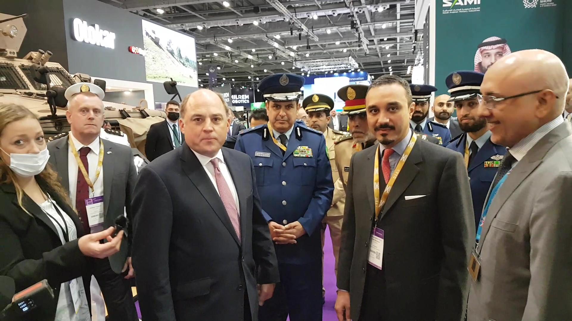 UK defence secretary Ben Wallace and Saudi ambassador to the UK Khalid bin Bandar at the DSEI arms fair in London, 15 September 2021. (Photo: Phil Miller / Declassified UK)