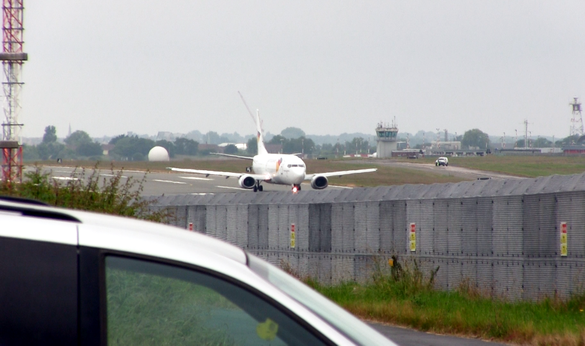 Village airport: A cargo plane taxis down Warton's runway, bound for Saudi Arabia (Photo: Phil Miller / Declassified UK)