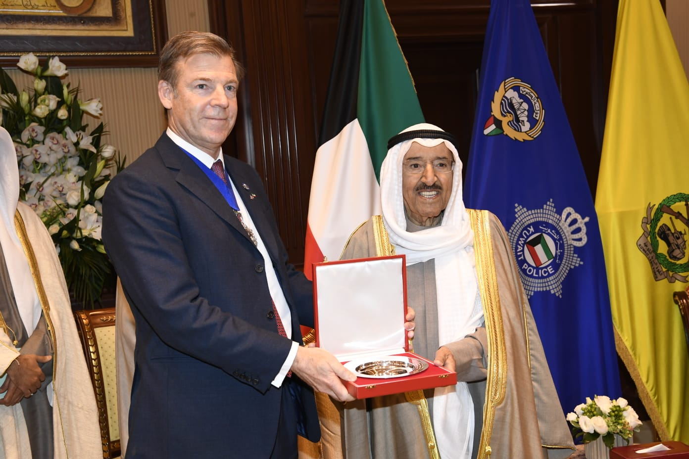 The Lord Mayor of London, William Russell, meets Kuwait's then head of state, Emir Sabah al-Sabah, February 2020, during a visit to the Gulf dictatorship. (Photo: Lord Mayor / Twitter)