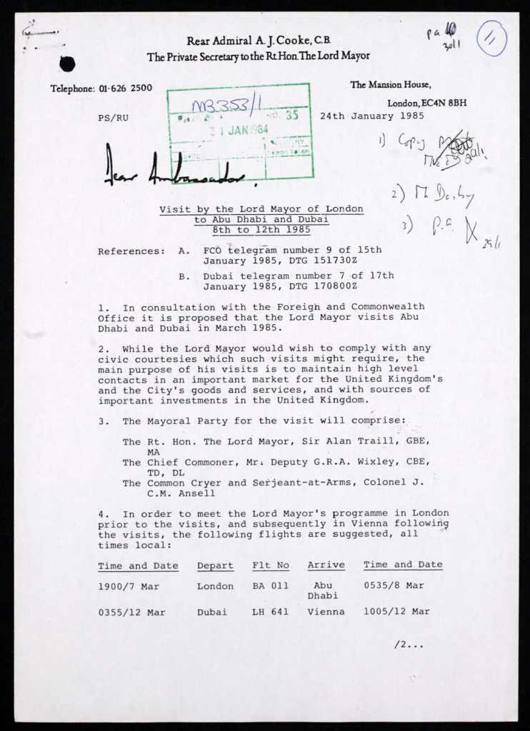 A declassified British document outlining preparation for a visit by the Lord Mayor to the UAE in March 1985.