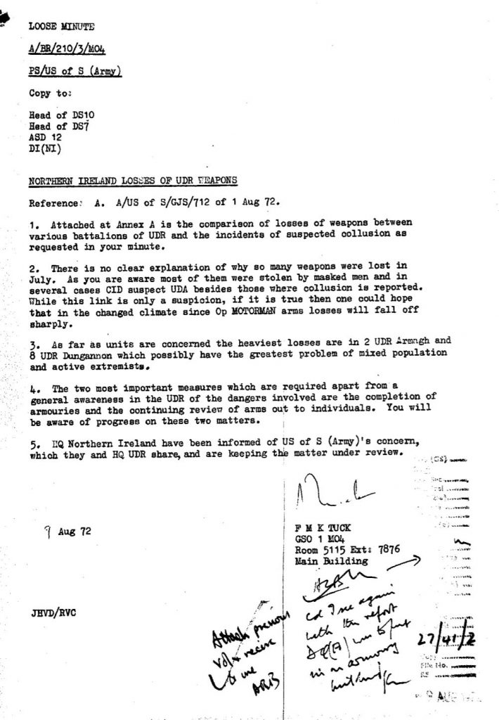 A Ministry of Defence declassified file
